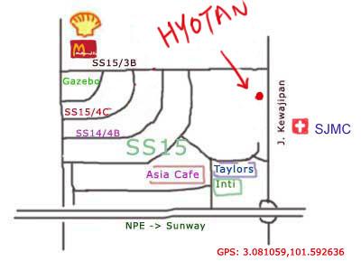 map to Hyotan japanese restaurant