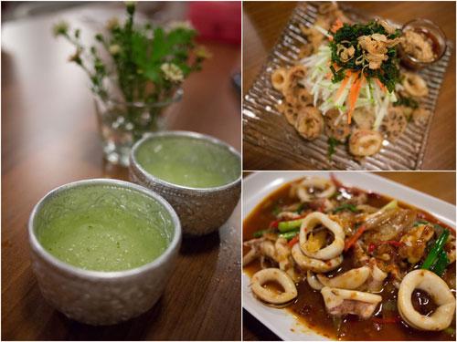 house drink, green mango salad, garlic squid