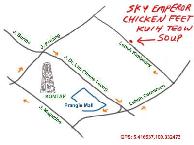 map to Kimberley Street, Penang