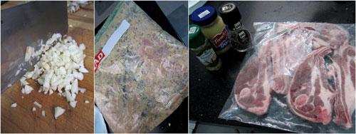 marinate lamb chop with mustard, pepper, rosemary, and garlic