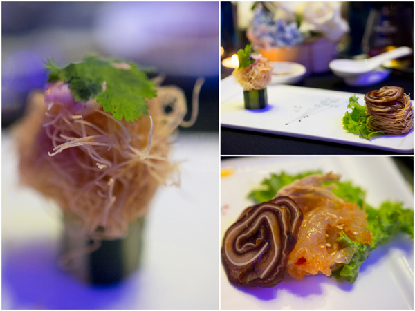 sze chuan jelly fish with thousand layer pig ear & deep fried scallop
