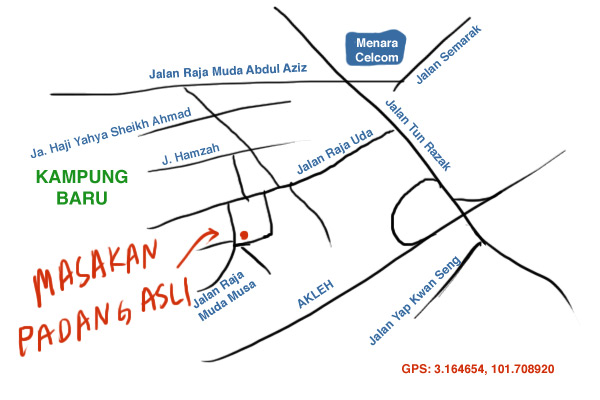 map to masakan padang asli, Kampung Baru`