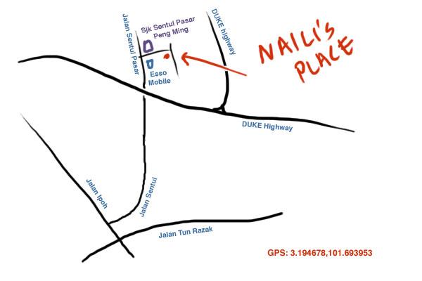 map to Naili's place, Sentul
