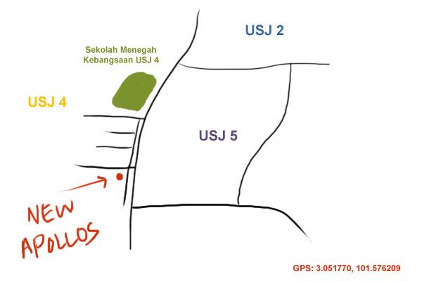 map to New Apollos kopitiam, USJ 4