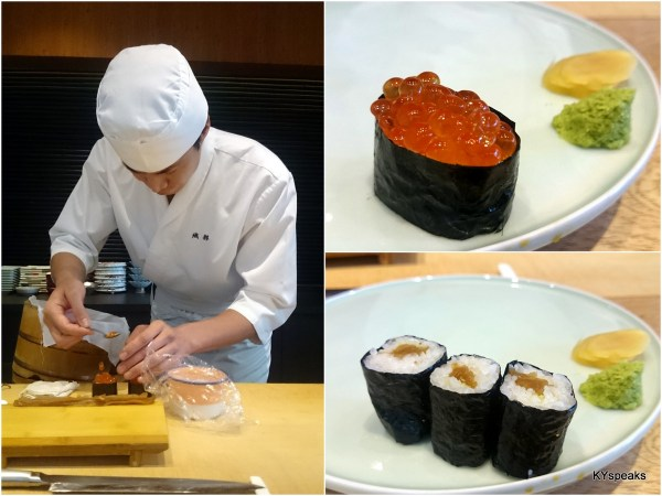 ikura (salmon egg), and er.. some vegetable roll
