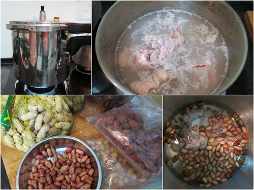 ingredients for peanut soup - raw peanuts, red dates, dried scallops, pork ribs