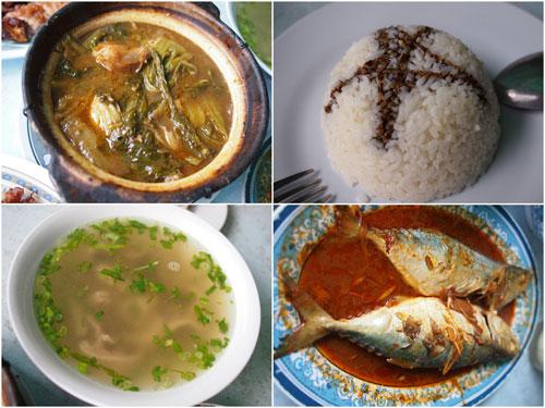 chai buih, rice with dark  soya sauce, pork tripes soup, asam fish