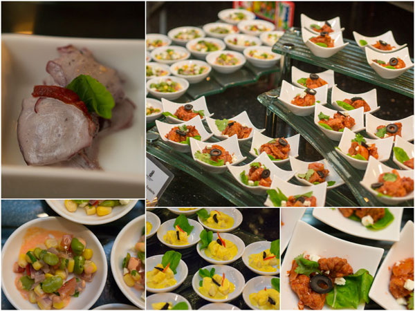 octopus with black olive alioli and various types of potato dishes