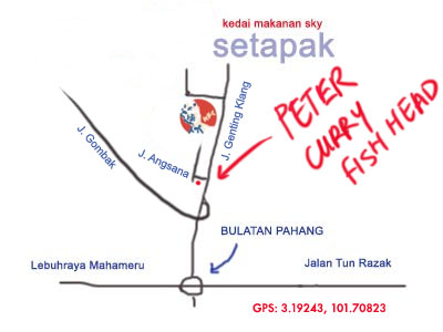map to Peter Curry Fish Head at Setapak