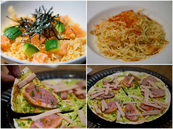 the godfather special, pasta from heaven, smoked duck breast with chicken ham pizza