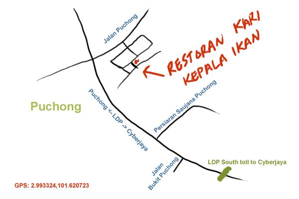 map to restaurant kari kepala ikan, Puchong