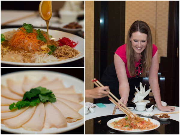 Prosperity yee sang with abalone, with Siobhan & Haze