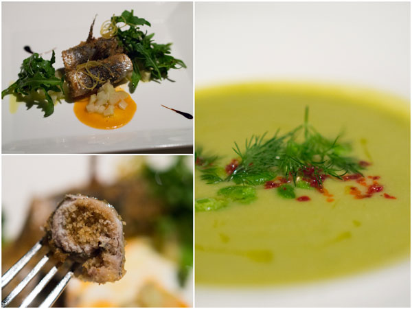 first course - sardine beccafico style, or Sicilian brood bean soup