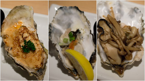 trio oyster - mentai, fresh, and simmer in broth