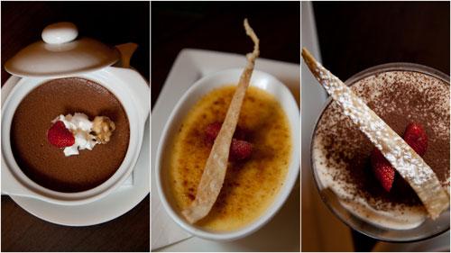 chocolate pot, creme brulee, tiramisu