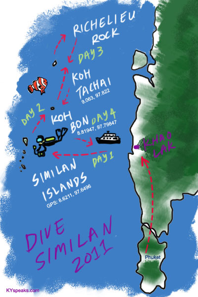 Similan Islands dive trip map