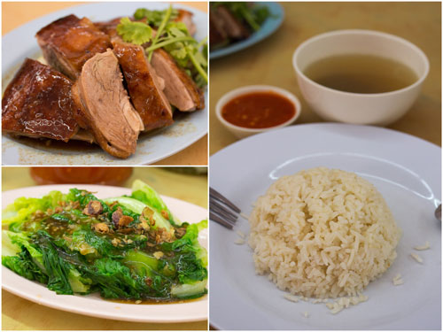 roast duck, vegetable, rice with free soup