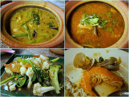 green curry chicken, seafood tomyam, mixed vegetable