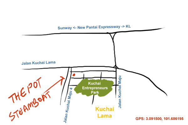 map to The Pot steamboat at Kuchai Lama