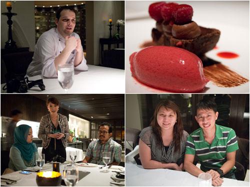 chef Alexander Washi, dessert, the PinkStilettos & Coco Wen (Hotel Manager), Suanie & KY