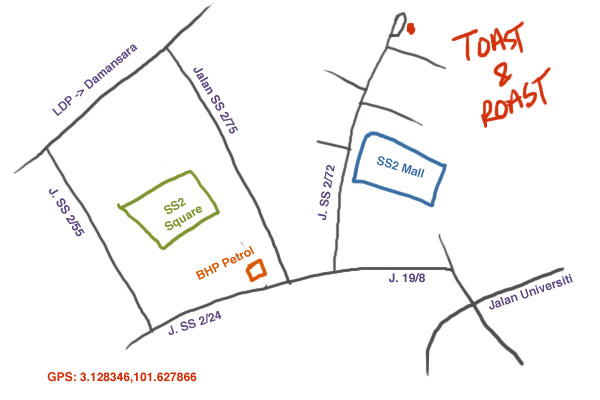 map to Toast & Roast at SS2
