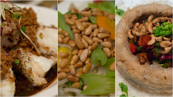 """steamed Canadian black cod, sauteed celery with pine nuts, vegetarian """"chicken"""" with yam basket"""