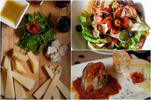 cheese platter, caesar salad, eggplant antipasta