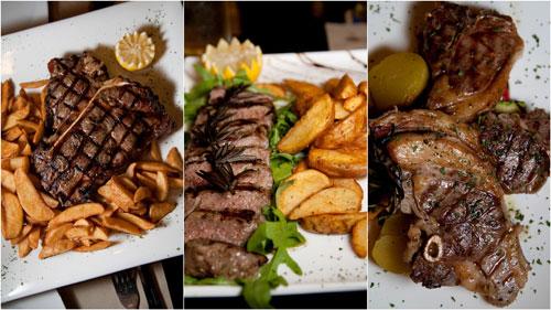 1kg T bone steak, sliced tenderloin, grilled lamb