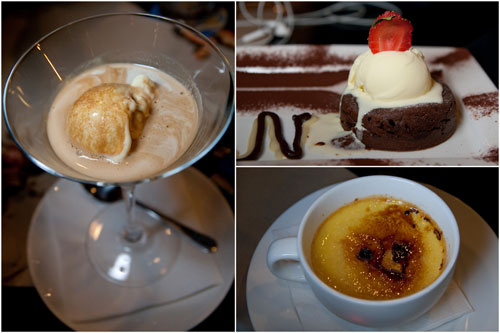 ice cream, molten chocolate cake, creme brulee