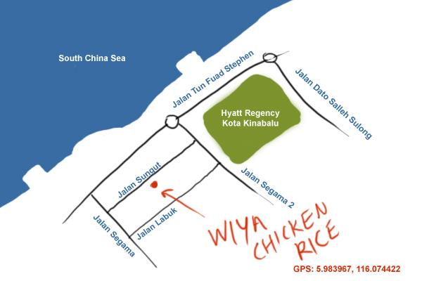 map to Wiya chicken rice, Kota Kinabalu