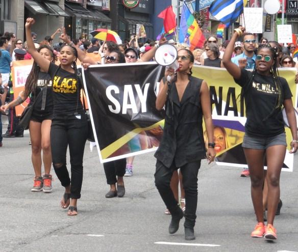 Des militantes de Black Lives Matter Toronto à la Pride des 2 et 3 juillet.