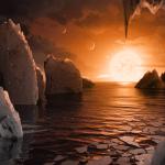 Le soleil du système TRAPPIST vu d'une de ses planètes les plus proches: une scène imaginaire que la NASA veut confirmer au cours des prochaines années.