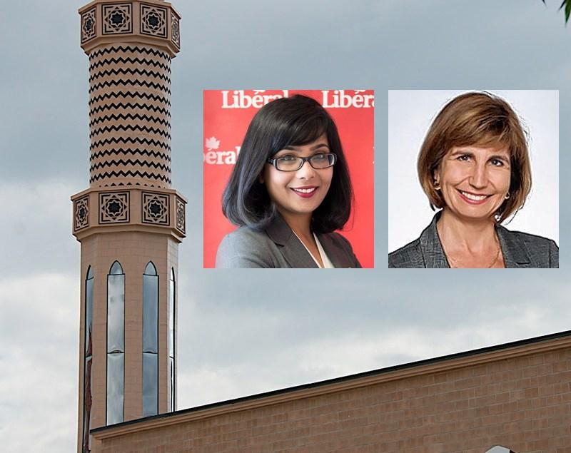 La députés fédérale Iqra Khalid et la députée provinciale Nathalie Des Rosiers. Arrière-plan: une mosquée de la rue Danforth à Toronto.