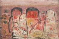 La Dernière Cène de Fateh Moudarres, 1964; pionnier de l'art moderne en Syrie. Scène canonique classique: une table et quelques aliments, Jésus et trois femmes. Huile sur toile © Image de la Fondation Atassi.