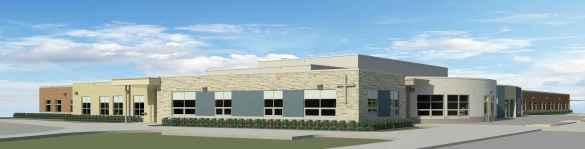 Croquis représentant la nouvelle école élémentaire-secondaire catholique de Peterborough.