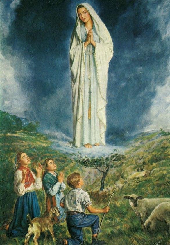 L'apparition de la Vierge aux trois enfants de Fatima.