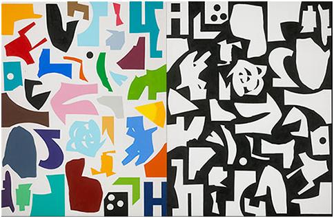 Ron Moppett, Ici et ailleurs, 2006, huile sur toile, 163,1 x 250 x 3,8 cm total. Musée des beaux-arts du Canada, Ottawa. © Ron Moppett. Photo: MBAC