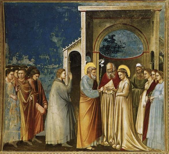 Les fiançailles de Marie et Joseph, par Giotto (environ 1305).