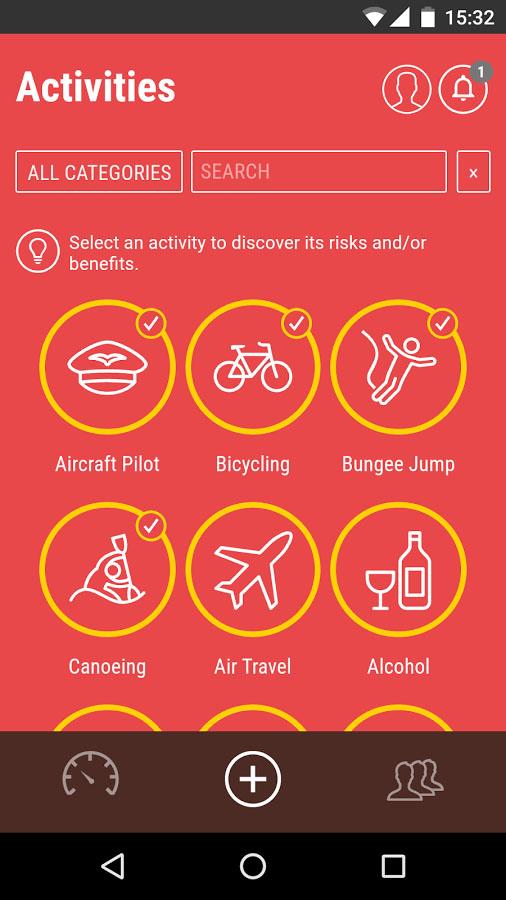 L'application mobile Risk Navigator indique le risque associé à diverses activités.