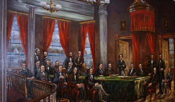 La conférence de Charlottetown en 1864: murale de John McCallum réalisée en 2000 et accrochée en 2013 dans le Holman Grand Hotel de la capitale de l'IPE. (Photo: Jacinthe Laforêt)