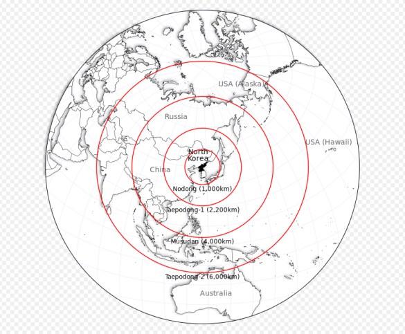 Portée de quelques missiles nord-coréens. Le dernier testé serait en mesure de toucher l'Alaska, l'Australie, l'Inde ou la Russie.