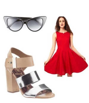Boutique by Jaeger 50s sun dress, $286.48, asos.com; Tom Ford cat eye sunglasses, $360, nordstrom.com; Sam Edelman