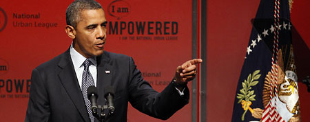 President Barack Obama addresses the National Urban League Conference in New Orleans, Wednesday, July 25, 2012. (AP Photo/Bill Haber)