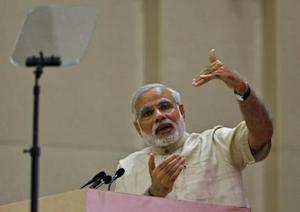 Indian PM Modi speaks during the inauguration of the 46th session of Indian Labour Conference in New Delhi