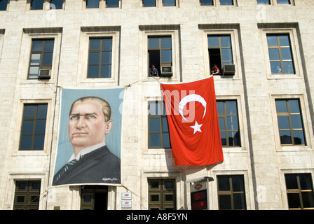 Portrait of Kemal Ataturk on building of the Turkish Radio and Stock         Portrait of Kemal Ataturk on building of the Turkish Radio and Television  Corporation or TRT