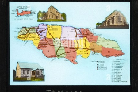map of jamaica showing churches of scottish origin 237 cswc47 dt2dkg