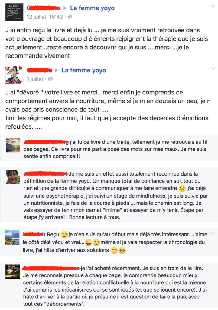 Commentaires livre La femme yoyo sur Facebook
