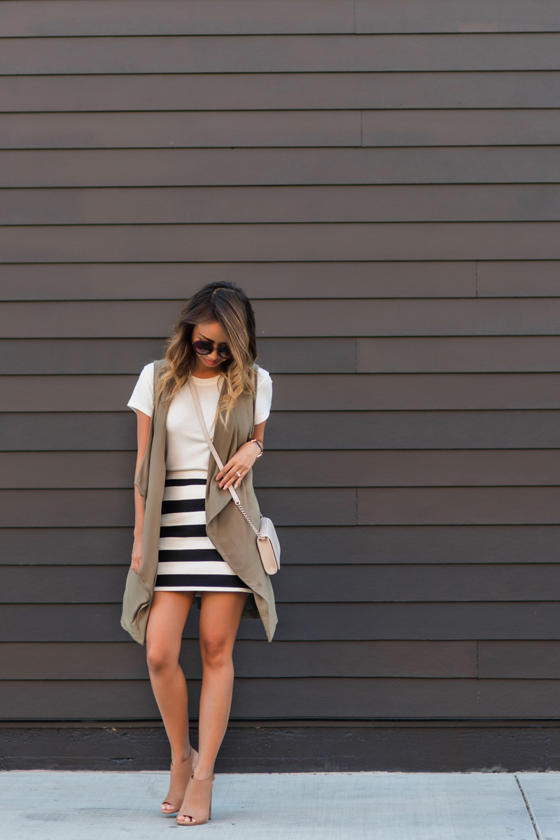 petite fashion blog, lace and locks, los angeles fashion blogger, oc fashion blogger, striped mini skirt, fall outfit ideas, nordstrom fall fashion, olive drapey vest, cute fall outfit