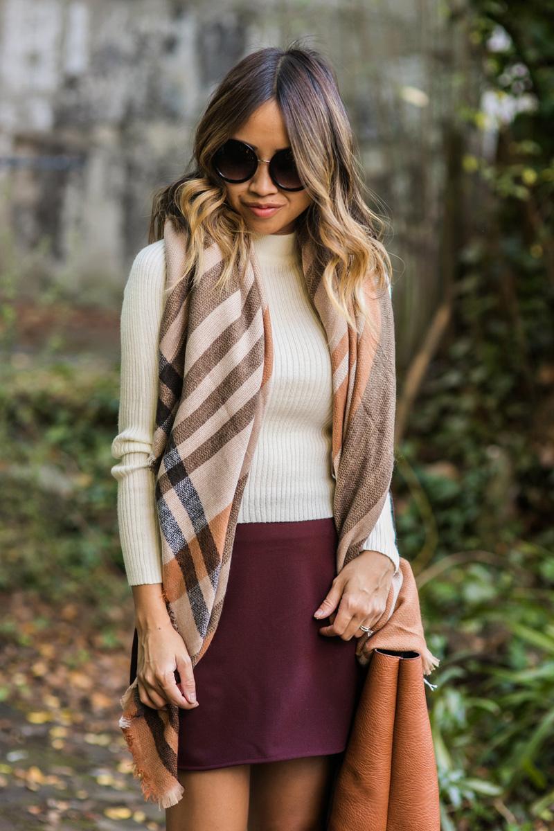 petite fashion blog, lace and locks, los angeles fashion blogger, oc fashion blogger, fall outfit, nordstrom fall fashion, fall plaid scarf, tan booties