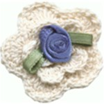 1 1/4'' - 3.2 cm - Crocheted Flower with Ribbon Rose Center1 1/4'' - 3.2 cm - Crocheted Flower with Ribbon Rose Center